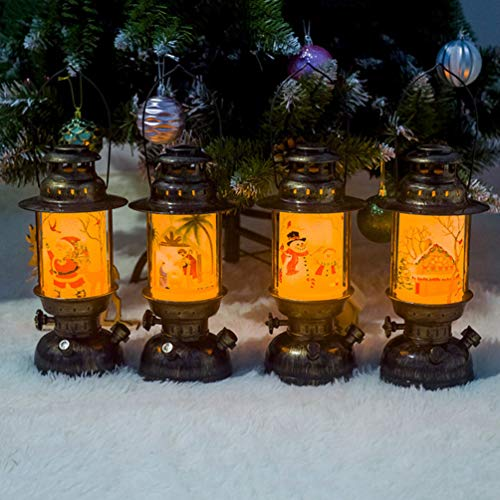 Uonlytech Weihnachten Schneemann-Windlichter 2pcs tragbares Weihnachten Nachtlicht Partybeleuchtung Dekor hängen für Weihnachtsfest-Garten Haus (d)