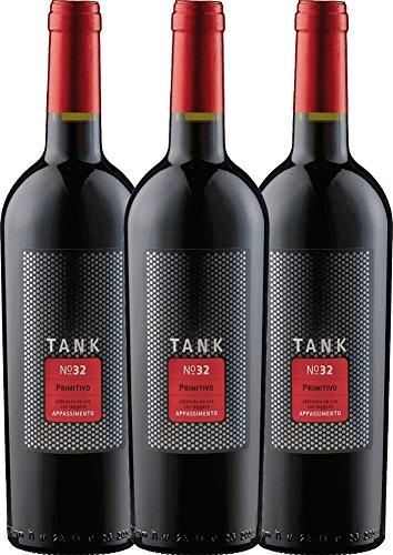 3er Paket - TANK No 32 Primitivo Appassimento 2016 - Cantine Minini | italienischer Rotwein | halbtrockener Wein aus Apulien | 3 x 0,75 Liter