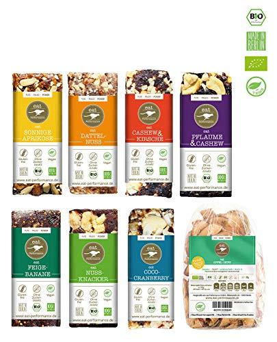 eat Performance® Vegan Box (7 Riegel, 1 Apfelchips) - Bio, Paleo, Glutenfrei Aus 100{6b9b98763cc3398cb097eec1e701cb338e2e781c78ea48de5aee6f1b63e62d90} Natürlichen Zutaten