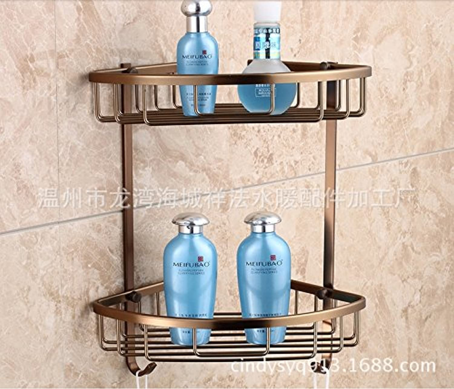 Triangular basket space aluminum antique double hook bathroom corner rack rack bathroom accessories