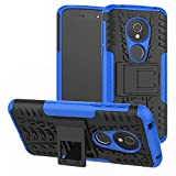 LFDZ Moto E5 Tasche, Hülle Abdeckung Cover schutzhülle Tough Strong Rugged Shock Proof Heavy Duty Hülle Für Motorola Moto E5 / G6 Play Smartphone (mit 4in1 Geschenk verpackt),Blau
