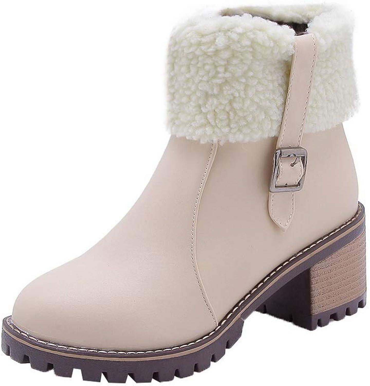 BalaMasa Womens Chunky Heels Fur Collar Metal Buckles Urethane Boots ABL11229