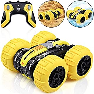 Amphibious Remote Control Car for Kids, ACHAS 2.4GHz Waterproof Off Road Truck Toys, 4WD Electric Double Sides RC Stunt Bo...