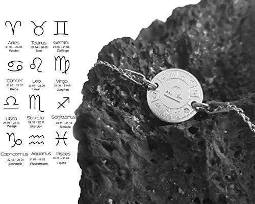 Sternzeichen Armband mit Gravur, Astro Schmuck mit Zodiak Zeichen, 925 Sterlingsilber