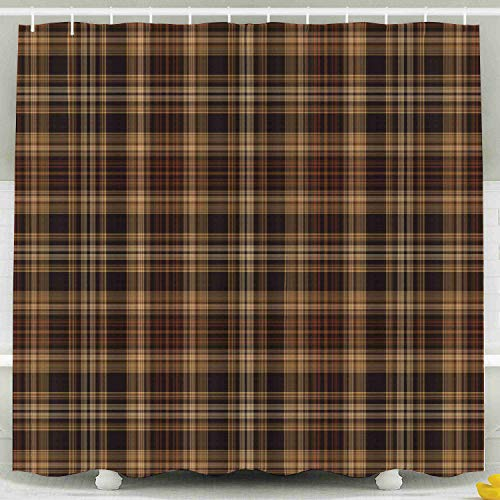Jacrane Bathroom Shower Curtains, Waterproof Liner with Hooks Brown Plaid Pattern 72X72Inch Large Size for Home Hotel Use,Green Green