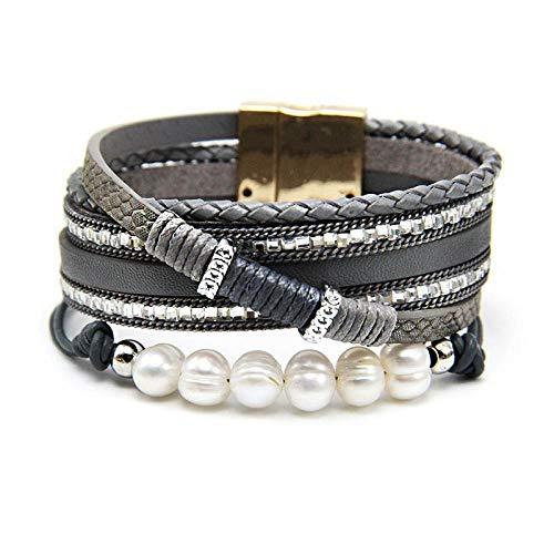 NA Armband SchmuckBunte Mehrschichtige Wickellederarmbänder Für Frauen Legierung Magnetverschlüsse Perlenarmband Armband Damen Modeschmuck Geschenke Grau
