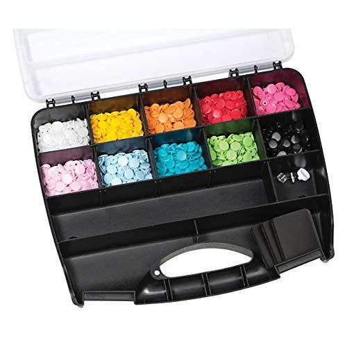 Prym 393900 Nähfrei Color Snaps Sortimentsbox inkl. 300 Druckknöpfe Ø 12,4 mm & Werkzeug-Set