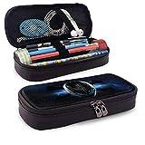 Alien - Estuche de piel con soporte para bolígrafo, papelería de gran capacidad, bolsa de cosméticos, auriculares Bluetooth, suministros escolares, estudiantes de color negro