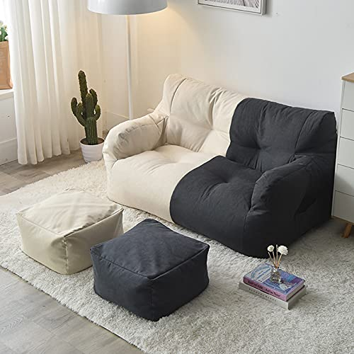 Sedia per Divano Pigro Fodera Fodera per Pouf a Pera (Senza Imbottitura) Ideale per Interni e Soggiorno Poltrona a Sacco Copri Lazy Bag,Beige Dark Gray Stitching