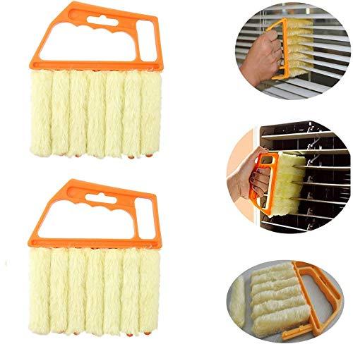 Tang Yuan 2 cepillos de limpieza para persianas, separador de polvo para persianas, cepillos de limpieza de plástico para persianas, herramientas de limpieza de hogar con 7 láminas