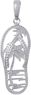 925 Sterling Silver Nautical Charm Pendant, Palm Tree Flip-Flop [Cut-Out]
