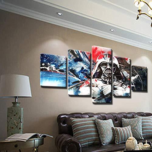 WHOOPS Moderne Wohnkultur Abstrakt Gemalt Auf Leinwand Darth Vader Print Bunte Poster Wandkunst Für Liviing Zimmer 5 Stücke Malerei Picture30 * 40 * 2 30 * 60 * 2 30 * 80 cm Rahmenlose