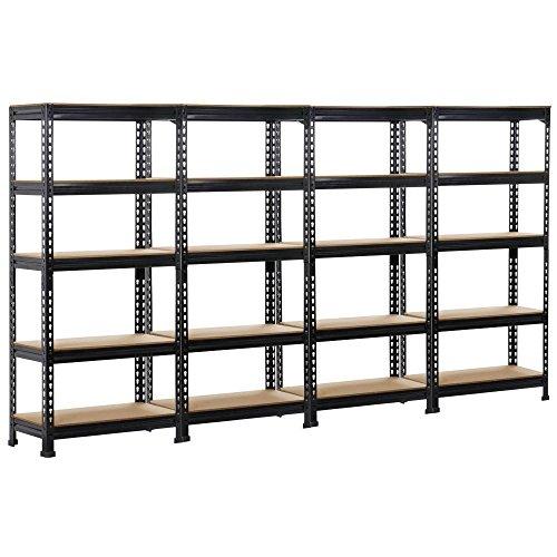 Topeakmart Storage Shelves 5-Tier Shelving Units and Storage Adjustable Utility Shelves Heavy Duty Metal Storage Racks 59 H Pack of 4