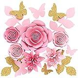 Houpoo 3D NO-DIY Papierblumen Dekorationen (10er Set) Große Hochzeit Tissue Künstliche Blumen Mittelstücke Geburtstag Hintergrund Kinderzimmer Wanddekoration Photobooth
