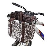 Wiiguda@ Panier Vélo Transport d'Animaux/Sac Cabas Détachable/Panier Vélo Porte Chien/Cadre en Alliage d'Aluminium/Tissu Marron
