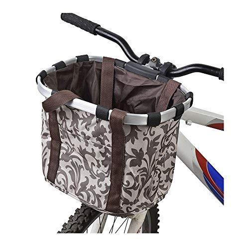 Wiiguda@ Cestino Anteriore Bici Staccabile Animale Domestico Vettore Lega di Alluminio Bike Pet Front Basket Pet Carrier Bag Porta Bici per Animali Domestici, Cestino Portaoggetti, Marrone, Max:5 kg