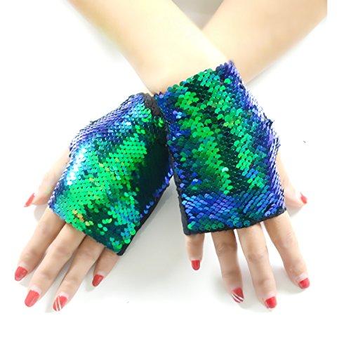 JACHAM Sequin Gloves,Reversible Mermaid Fingerless Gloves Dance Party Favor Bracelet (Black-Green)