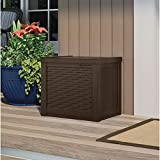 22 Gallon Small Deck Box with Storage Seat - Weather Resistant, Water Resistant, UV Protection Lightweight Resin Indoor/Outdoor Storage Container and Seat for Home Garden - Java Brown By USA Treasure