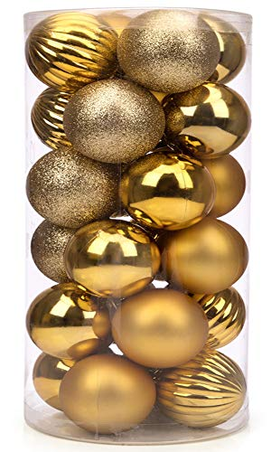 SANNO 60mm/2.36' Gold Christmas Ball Ornaments 2.36' Shatterproof Christmas Decorations Tree Balls for Holiday Wedding Party Decoration, Tree Ornaments 24ct