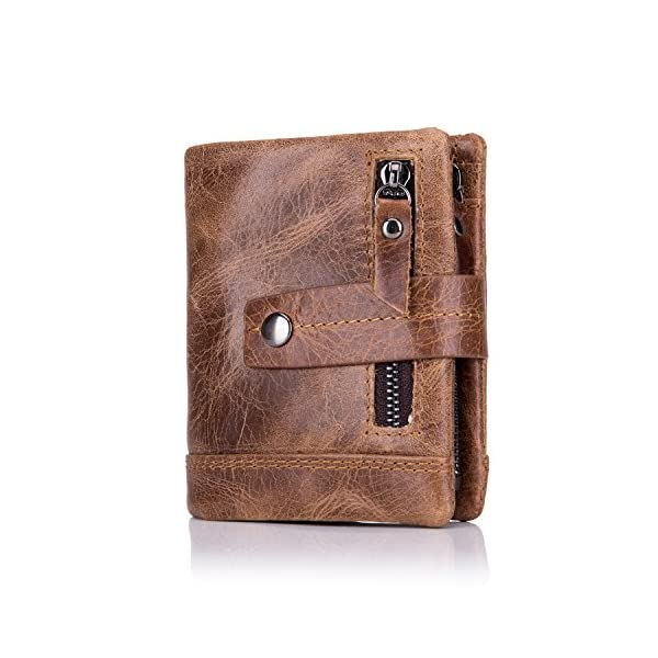BULLCAPTAIN Men's Wallet Leather Front Pocket Bifold Wallets with Zipper Coin Pocket/Pouch QB-4 1