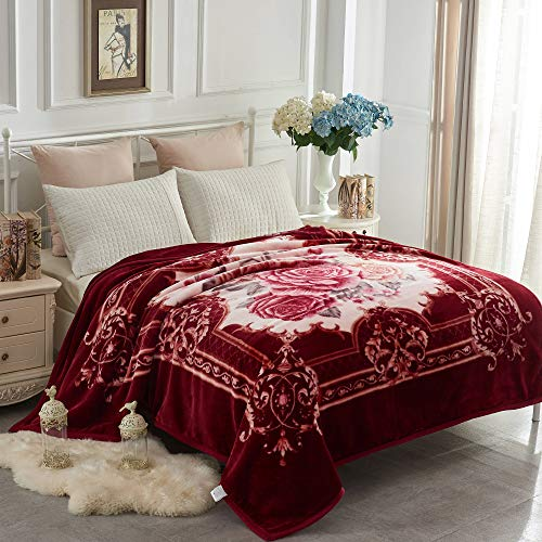 JYK Heavy Korean Mink Fleece Blanket, 5 LB - 2 Ply Reversible 520GSM Silky Soft Plush Warm Blanket for Autumn Winter (Queen, Flower/Burgundy)