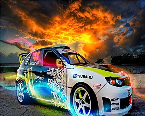 WOWDECOR DIY Malen nach Zahlen für Erwachsene Kinder Mädchen, Cool Bunt Auto Rennwagen 40x50cm Vorgedruckt Leinwand-Ölgemälde (ohne Rahmen)