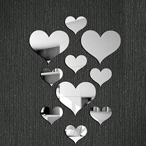 Removable Wall Sticker Clearance Sale, Libermall 10pcs Acrylic Love Heart 5D Mirror Wall Sticker Home Room Decor Wall Windows Door Mural Decal Sticker, Best for Family Room Art Decor Wall Stickers