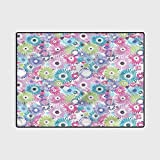 Floral Floor Carpet Bedroom Carpet Colorful Vintage Curls 6.5 x 8 Ft