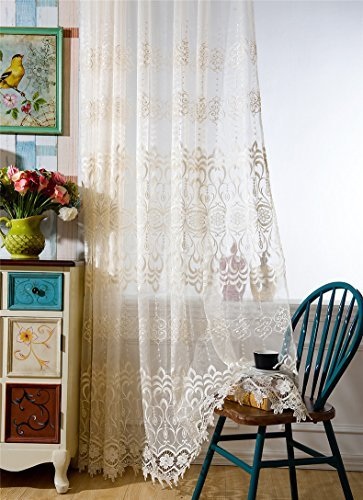 WPKIRA Indoor/Outdoor Balcony Window Treatments Lace Embroidered Rod Pocket Top Window Curtain Sheer Panels Tulle Voile Door Curtain Drape for Living Room, 1 Panel W75 x L96 Inch