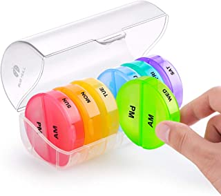 BUG HULL Pill Organizer 2 Times a Day, Weekly Travel Pill Box, 7 Day AM PM Pill Case, Daily Round Medicine Organizer for Vitamins, Fish Oils or Supplement