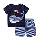 Hopscotch Boys Cotton Fish Print Half Sleeves T-Shirt and Short Set in Navy