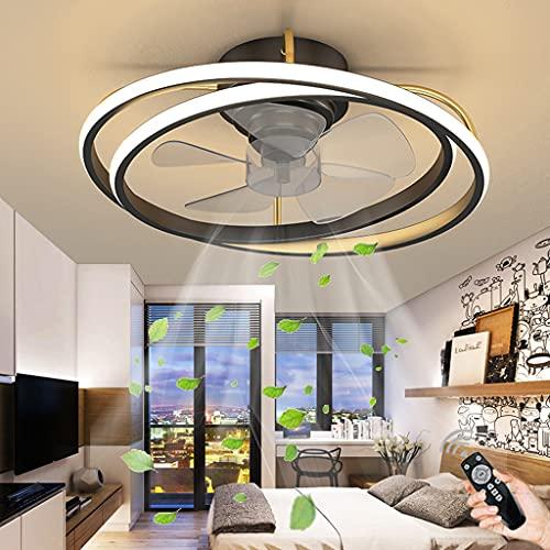 Ventilador De Techo LED Iluminación Regulable Control Remoto Luz De Techo Ventilador Moderno Lámpara Colgante Sala De Estar Dormitorio Habitación De Los Niños Comedor Fan Lámpara De Techo (Black)