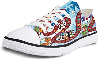K0k2t0 Canvas Sneaker Low Top Shoes,Board Game Block Path on a City Park with Billboards Direction Signs Challenge Outdoors Decorative