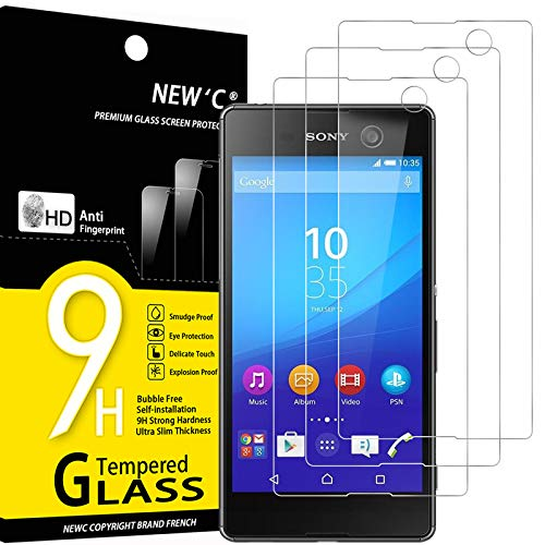 NEW'C Lot de 3, Verre Trempé Compatible avec Sony Xperia M5, Film Protection écran sans Bulles d'air Ultra Résistant (0,33mm HD Ultra Transparent) Dureté 9H Glass