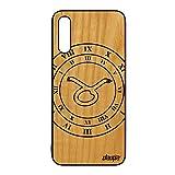 Coque pour Samsung A50 Bois Silicone Signe Astrologique Taureau du Zodiaque Mobile Noir Case Cover...
