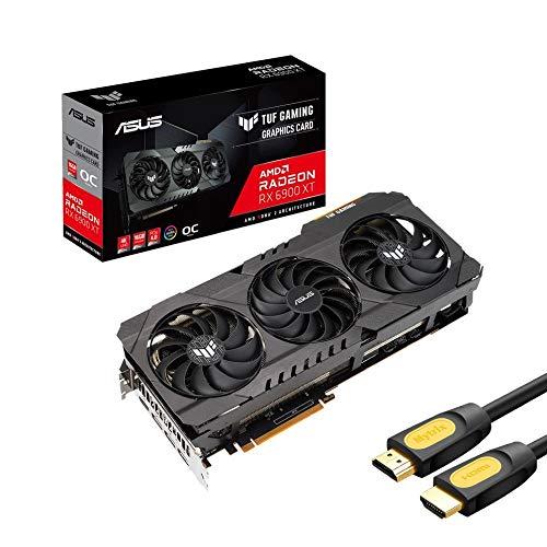 ASUS TUF Radeon RX 6900 XT OC Edition Tarjeta gráfica, 16 GB 256 bits GDDR6, PCI Express 4.0, VR Ready, HDCP Ready, Axial-tech Fan, MaxContact, 3X DisplayPort, 1 x HDMI 2.1 8K, con cable HDMI Mytrix