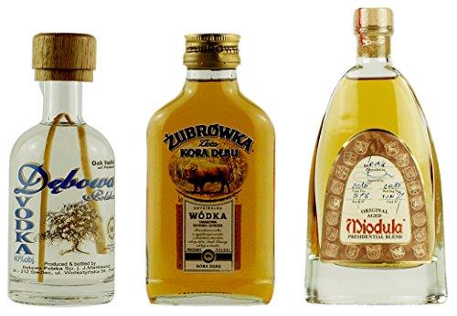 Geschenkidee MINI Polish OAK Edition: Dębowa De Chene, Żubrówka Kora Dębu, Miodula Eichenfass-Wodka | 1x 0,05 Liter, 2x 0,1 Liter