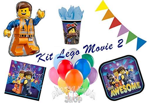 Kit de fiesta, incluye adornos y decoraciones de mesa para cumpleaños, fiestas temáticas y ceremonias (Lego Movie 2)