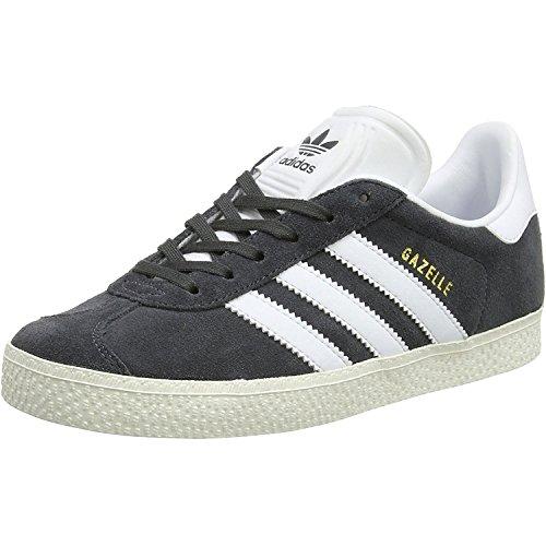 adidas Gazelle, Baskets Basses Mixte Enfant, Gris (DGH Solid Grey/FTWR White/Gold Metallic), 35 EU