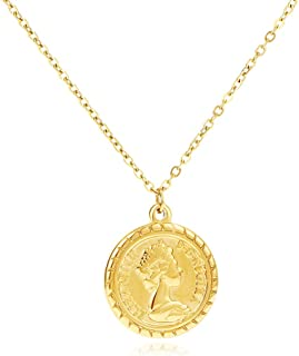 LILIE&WHITE Gold Coin Necklace for Women Elizabeth Gold Pendant Necklace Vintage Textured Medallion Coin Pendant Dainty Ne...