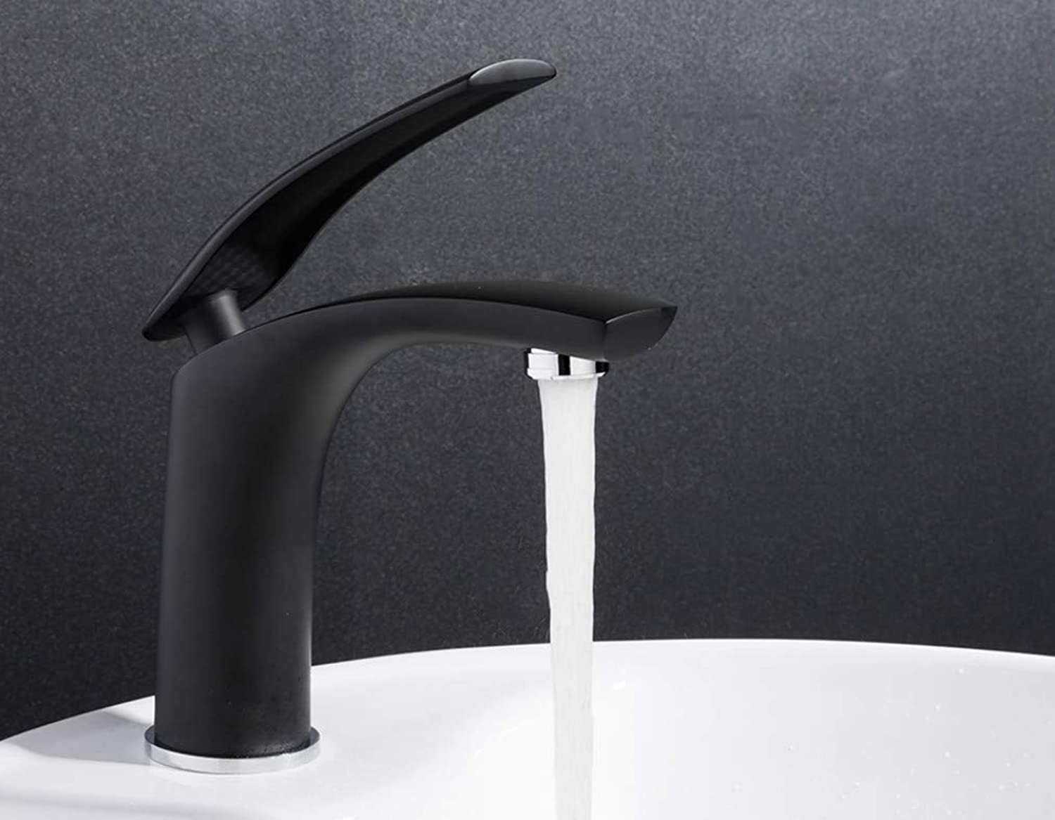Marcu HOME Taps Bathroom Faucet Black Solid Brass Bathroom Basin Fauce Single Handle Waterfall Basin Hot & Cold Water Mixer Sink Tap Taps