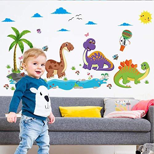 KBIASD Cartoon Jurassic Park Dinosaurs Wall Sticker for Kids Room Decoration Bedroom Wall Art Decor Removable Vinyl Wallpaper Stickers 135x75cm