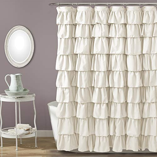 Lush Decor, Ivory Ruffle Shower Curtain | Floral Textured Shabby Chic Farmhouse Style Design, 72 x 72