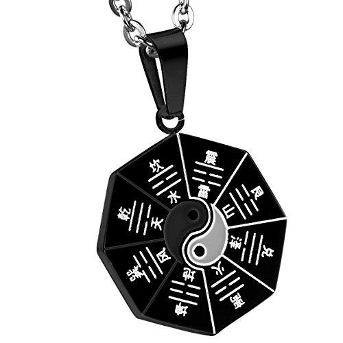 OIDEA Herren Halskette mit Anhänger, Edelstahl Bagua Acht Trigramme Anhänger mit 55cm Kette Halsband, Schwarz Silber
