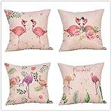 Kkoqmw Conjunto de Manga de cojín de Mangas de sofá 4 Conjuntos de Dibujos Animados Flamingo Dormitorio Sala de Estar Decoración para el hogar V