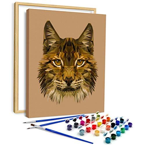 AiN Katy - Rasujący lis - malowanie według liczb DIY - zestaw do majsterkowania z płótnem z ramą, farbami, pędzlami - dla dorosłych, dzieci, początkujących - idealny jako obraz ścienny, plakat