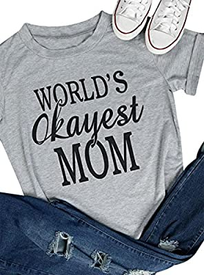DUTUT Women Worlds Okayest Mom Letter Print T-Shirt Short Sleeve Crew Neck Casual Tops