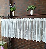 White Lace Valances for Windows 51x16inch, Lace Floral Embroidered Semi Sheer Curtain for Kitchen Cafe Dinning Bath Room 1 Pcs (White)