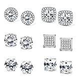 Jstyle Halo Cubic Zirconia Stud Earrings for Women Clear CZ Round Square Stud Earrings Set Ear Jewelry