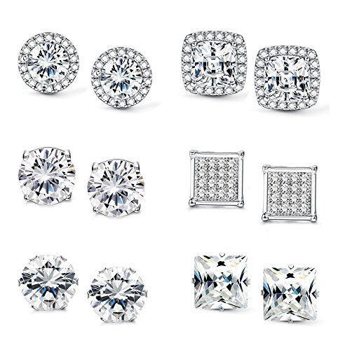 Jstyle Halo Cubic Zirconia Stud Earrings for Women Clear CZ Round Square Stud Earrings Set Ear Jewelry